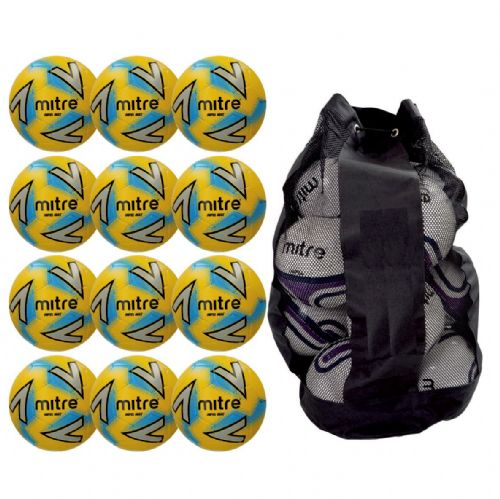 Mitre Impel Max Training Ball 12 Balls and Bag - Yellow/Silver/Blue